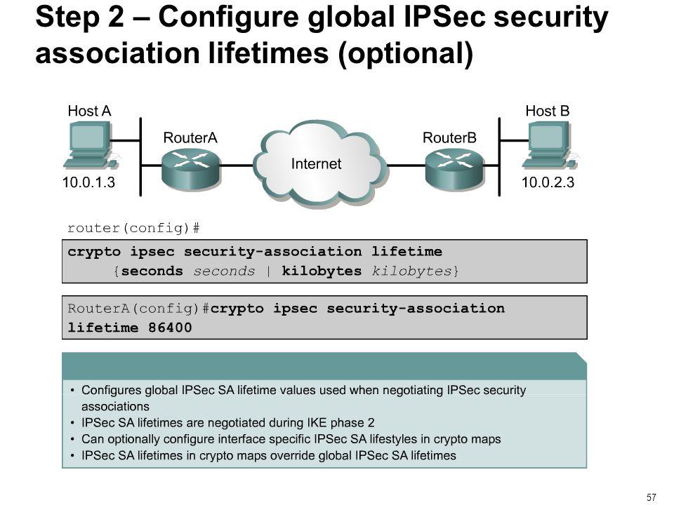 57 Step 2 – Configure global IPSec security association lifetimes (optional)