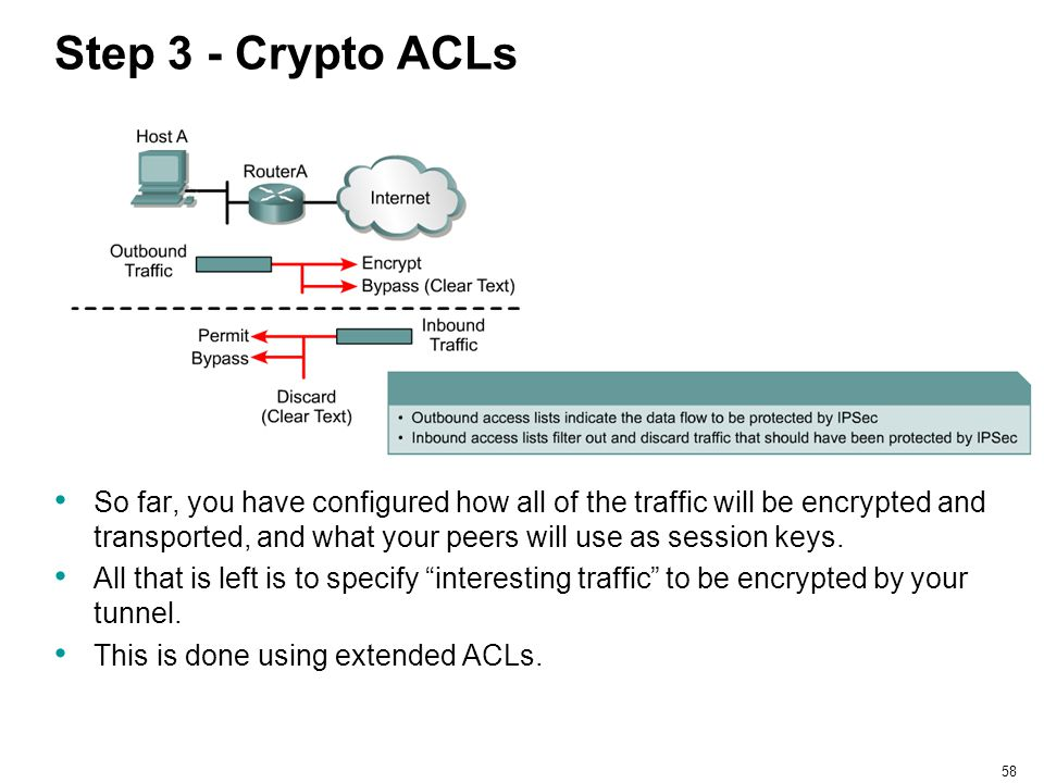 58 Step 3 - Crypto ACLs So far, you have configured how all of the traffic will be encrypted and transported, and what your peers will use as session