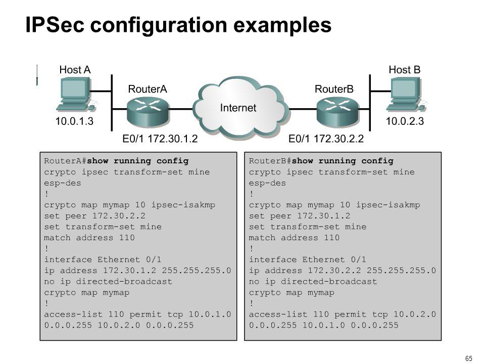 65 IPSec configuration examples