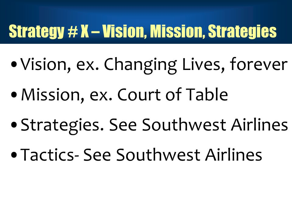 Strategy # X – Vision, Mission, Strategies Vision, ex.