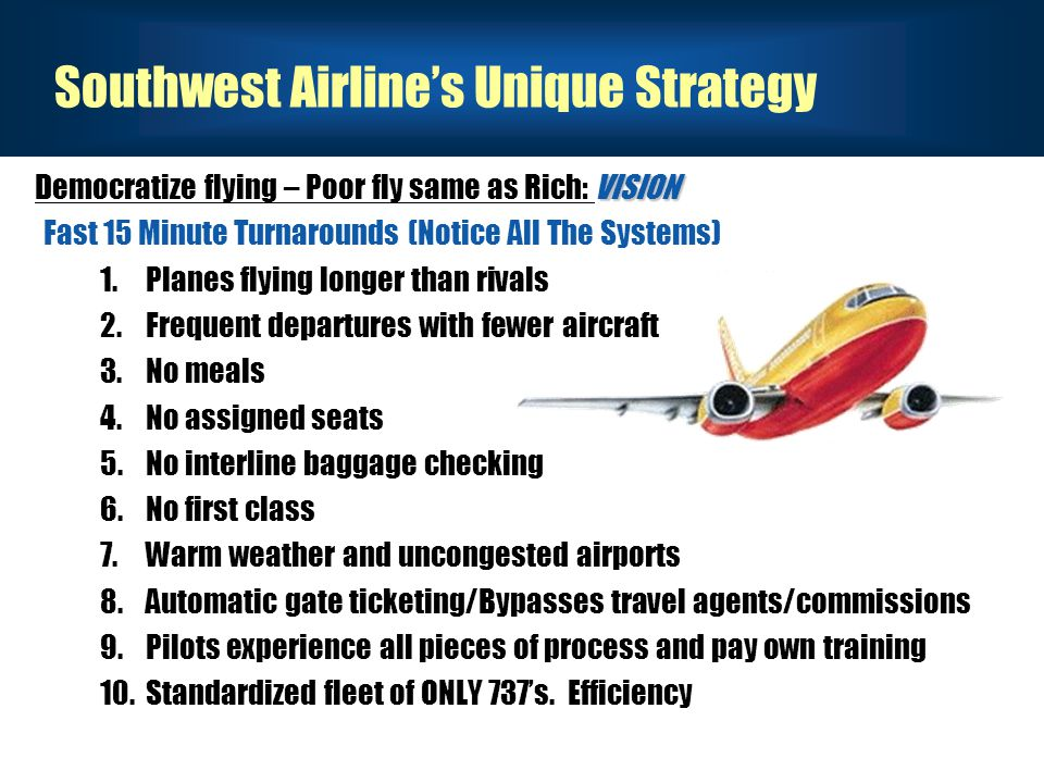 Southwest Airline's Unique Strategy VISION Democratize flying – Poor fly same as Rich: VISION Fast 15 Minute Turnarounds (Notice All The Systems) 1.Planes flying longer than rivals 2.Frequent departures with fewer aircraft 3.No meals 4.No assigned seats 5.No interline baggage checking 6.No first class 7.Warm weather and uncongested airports 8.Automatic gate ticketing/Bypasses travel agents/commissions 9.Pilots experience all pieces of process and pay own training 10.Standardized fleet of ONLY 737's.