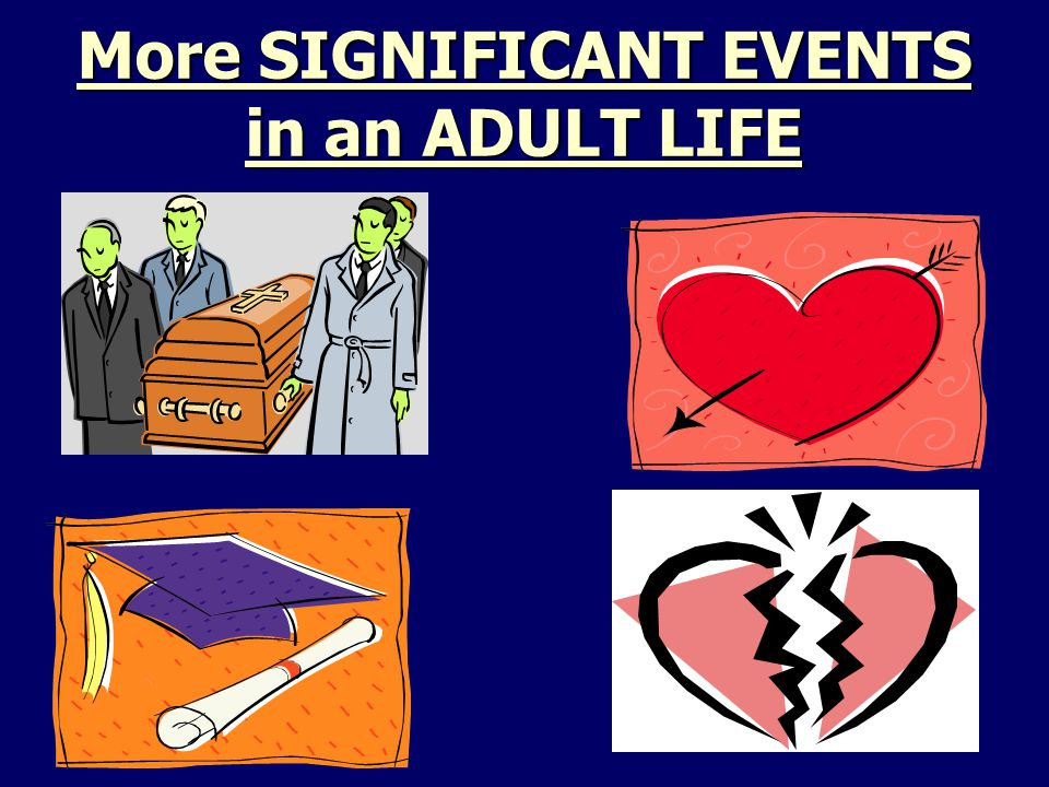 More SIGNIFICANT EVENTS in an ADULT LIFE