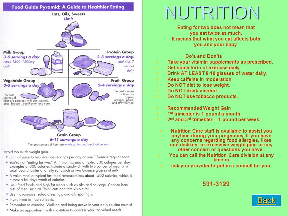 NUTRITION Eating for two does not mean that you eat twice as much. It means that what you eat affects both you and your baby. Do's and Don'ts   Take