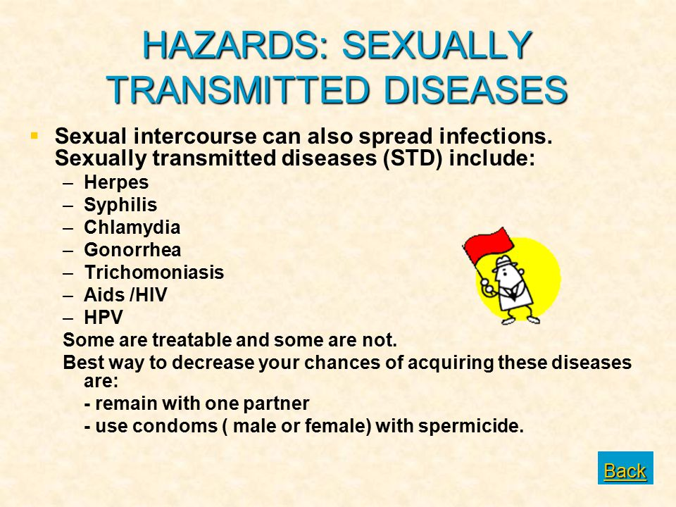 HAZARDS: SEXUALLY TRANSMITTED DISEASES   Sexual intercourse can also spread infections. Sexually transmitted diseases (STD) include: – –Herpes – –Sy