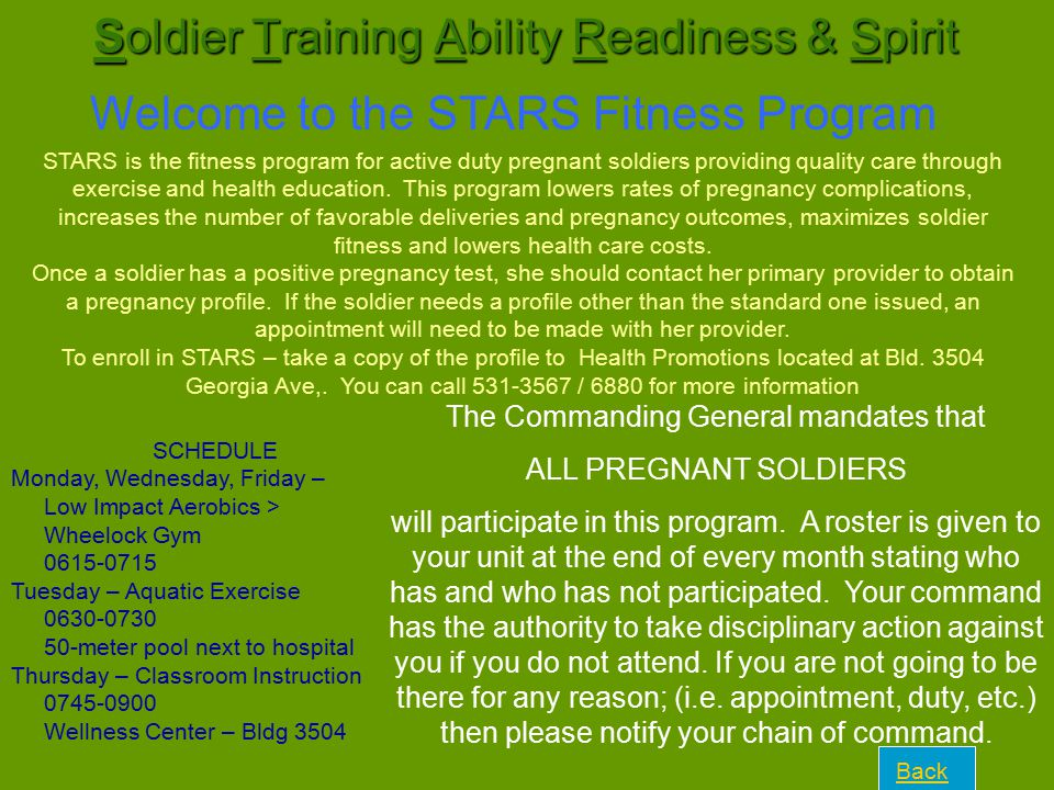 Soldier Training Ability Readiness & Spirit Welcome to the STARS Fitness Program STARS is the fitness program for active duty pregnant soldiers provid