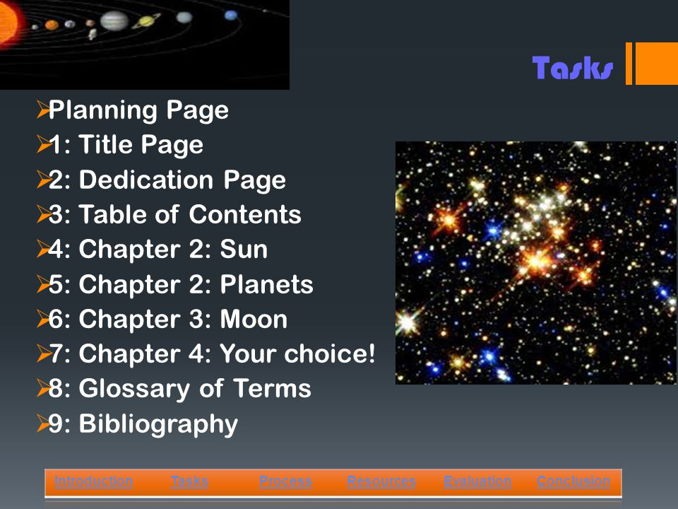  Planning Page  1: Title Page  2: Dedication Page  3: Table of Contents  4: Chapter 2: Sun  5: Chapter 2: Planets  6: Chapter 3: Moon  7: Chapter 4: Your choice.