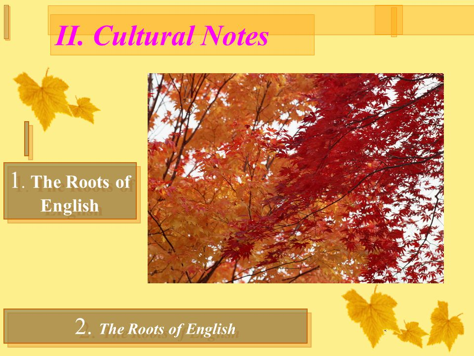 II. Cultural Notes 1. The Roots of English 1. The Roots of English 2.