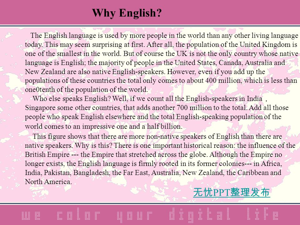 无忧 PPT 整理发布 The English language is used by more people in the world than any other living language today.