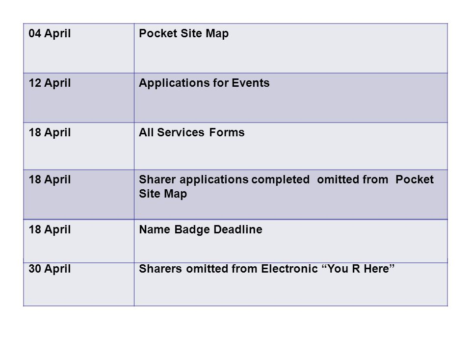 30 AprilSharers omitted from Electronic You R Here 04 AprilPocket Site Map 12 AprilApplications for Events 18 AprilAll Services Forms 18 AprilSharer applications completed omitted from Pocket Site Map 18 AprilName Badge Deadline