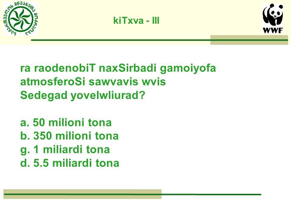 kiTxva - III ra raodenobiT naxSirbadi gamoiyofa atmosferoSi sawvavis wvis Sedegad yovelwliurad.