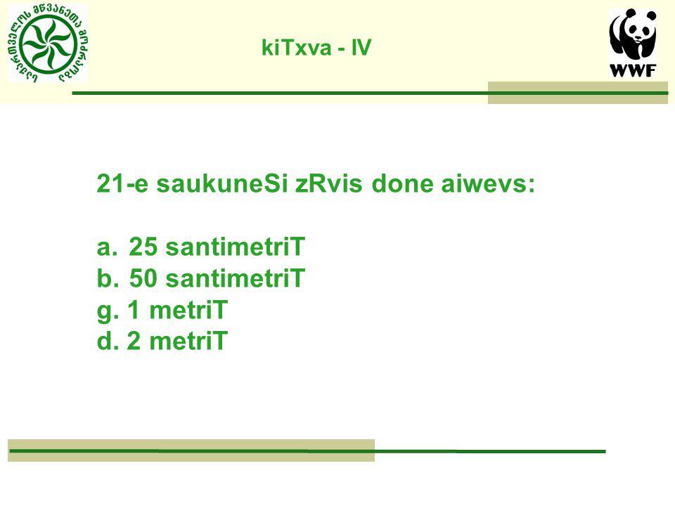 kiTxva - IV 21-e saukuneSi zRvis done aiwevs: a. 25 santimetriT b.