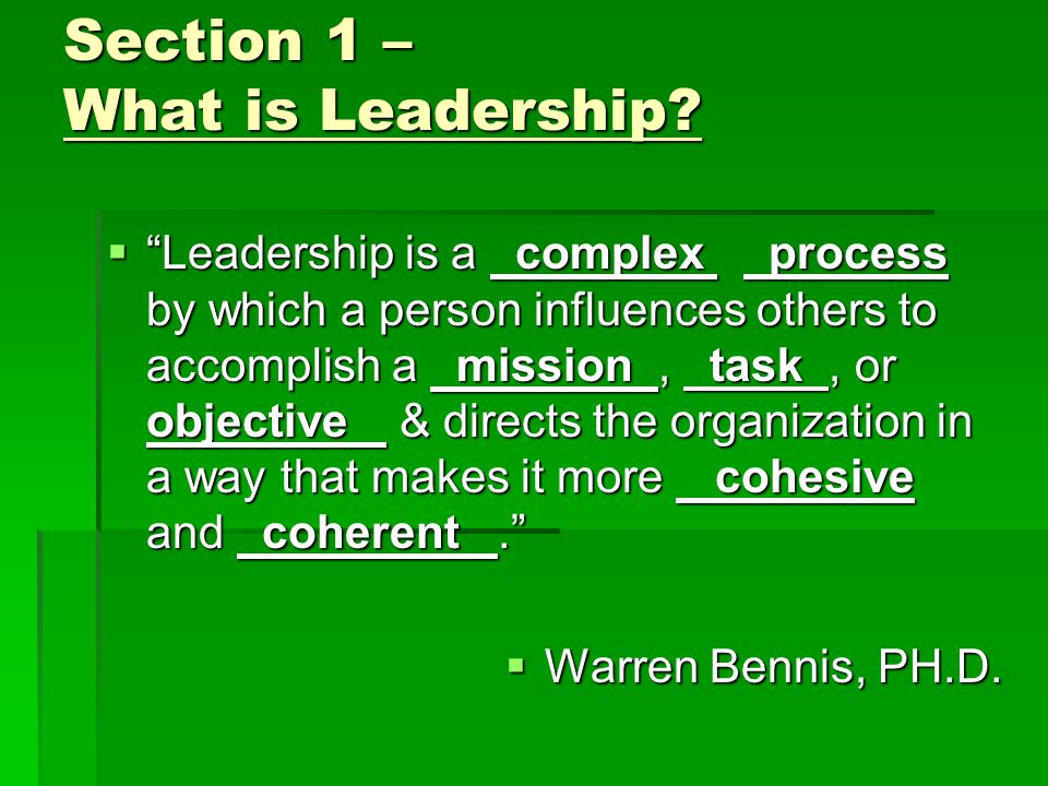Section 1 What is Leadership