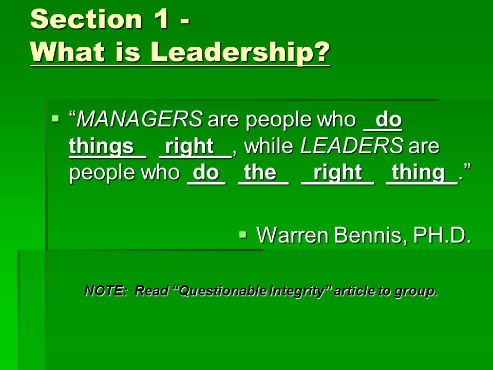 Section 1 – What is Leadership.