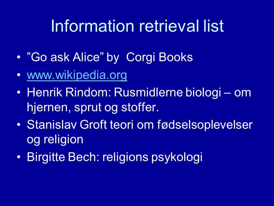 """Information retrieval list """"Go ask Alice"""" byCorgi Books www.wikipedia.org Henrik Rindom: Rusmidlerne biologi – om hjernen, sprut og stoffer. Stanislav"""