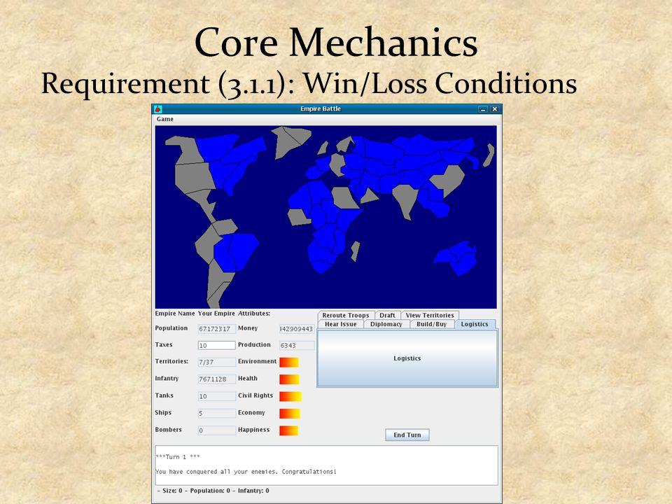Core Mechanics Requirement (3.1.1): Win/Loss Conditions