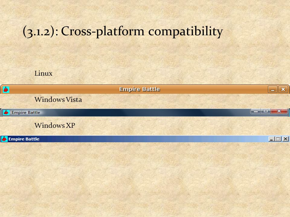 (3.1.2): Cross-platform compatibility Linux Windows Vista Windows XP
