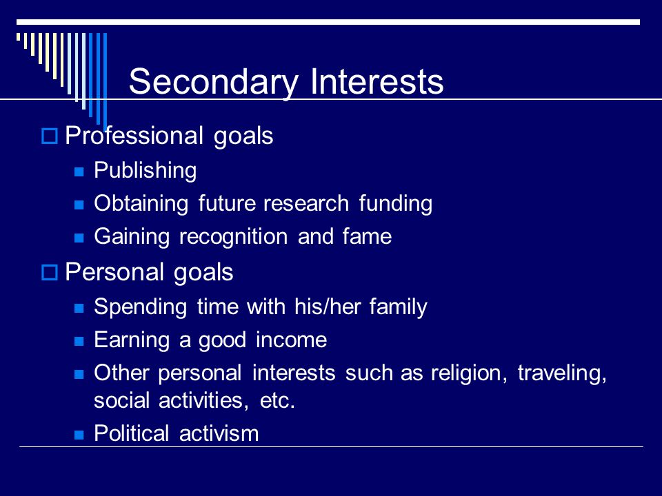 Secondary Interests  Professional goals Publishing Obtaining future research funding Gaining recognition and fame  Personal goals Spending time with his/her family Earning a good income Other personal interests such as religion, traveling, social activities, etc.