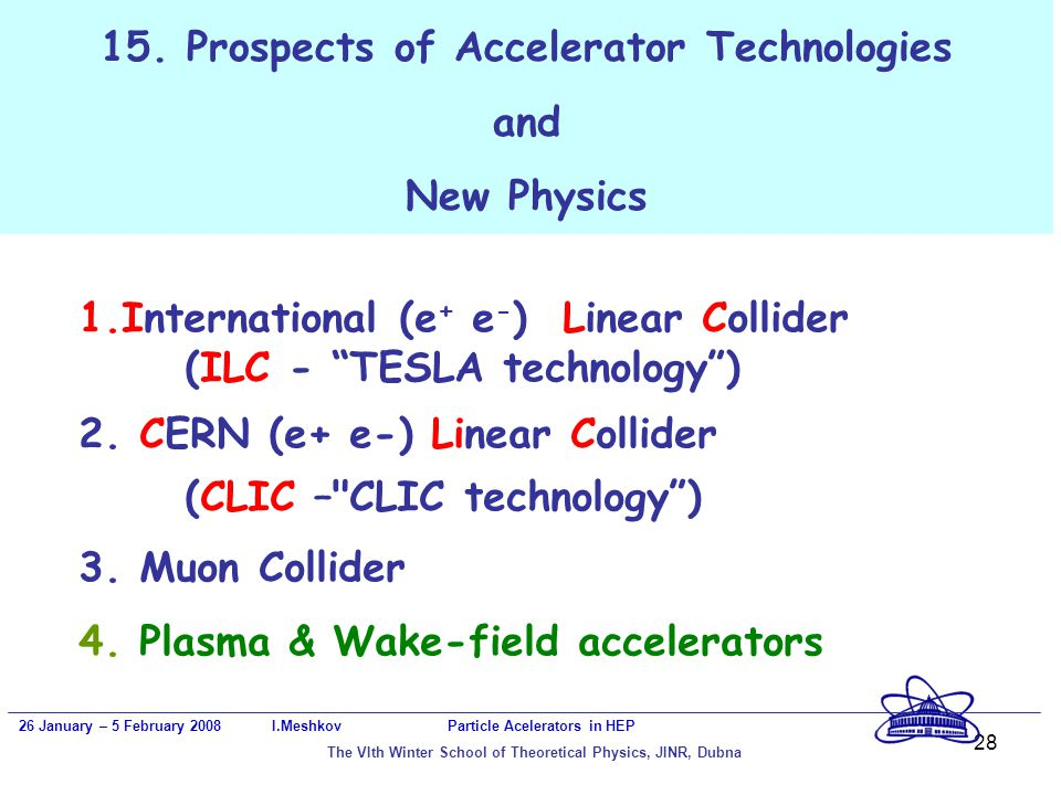 28 15. Prospects of Accelerator Technologies and New Physics 26 January – 5 February 2008 I.Meshkov Particle Acelerators in HEP The VIth Winter School