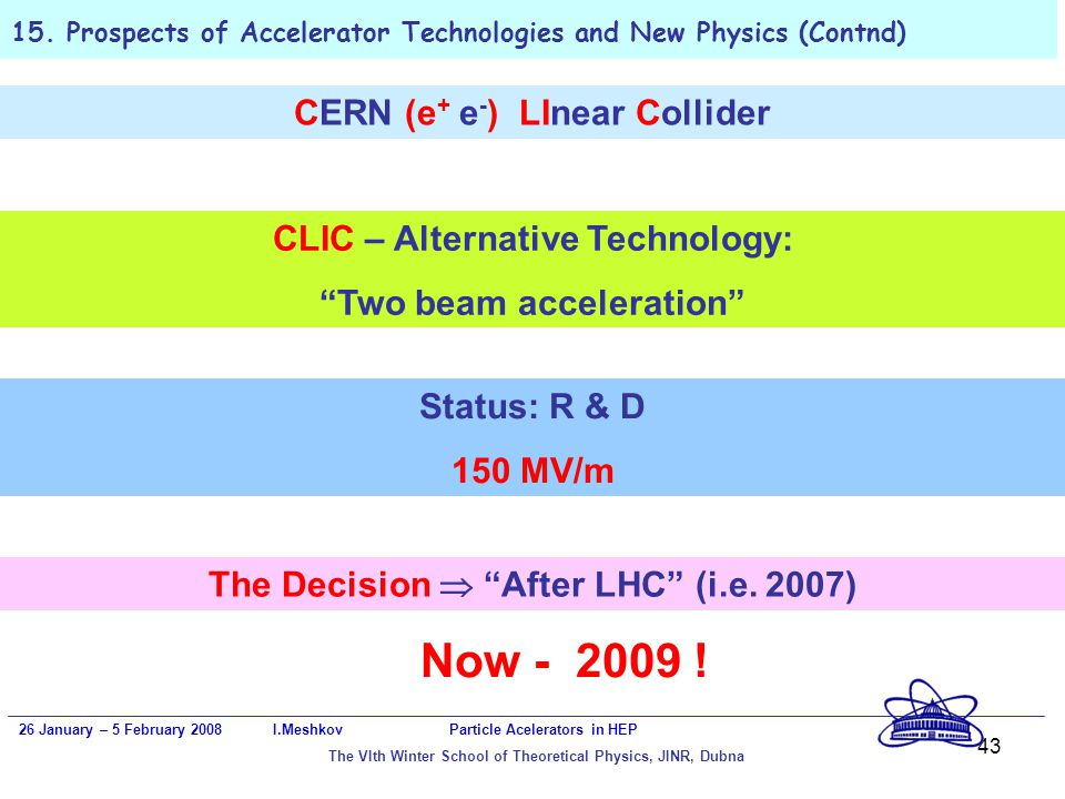 43 15. Prospects of Accelerator Technologies and New Physics (Contnd) 26 January – 5 February 2008 I.Meshkov Particle Acelerators in HEP The VIth Wint