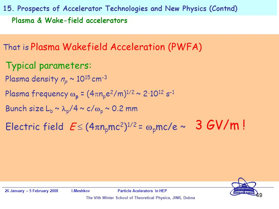 49 15. Prospects of Accelerator Technologies and New Physics (Contnd) Plasma & Wake-field accelerators That is Plasma Wakefield Acceleration (PWFA) Ty
