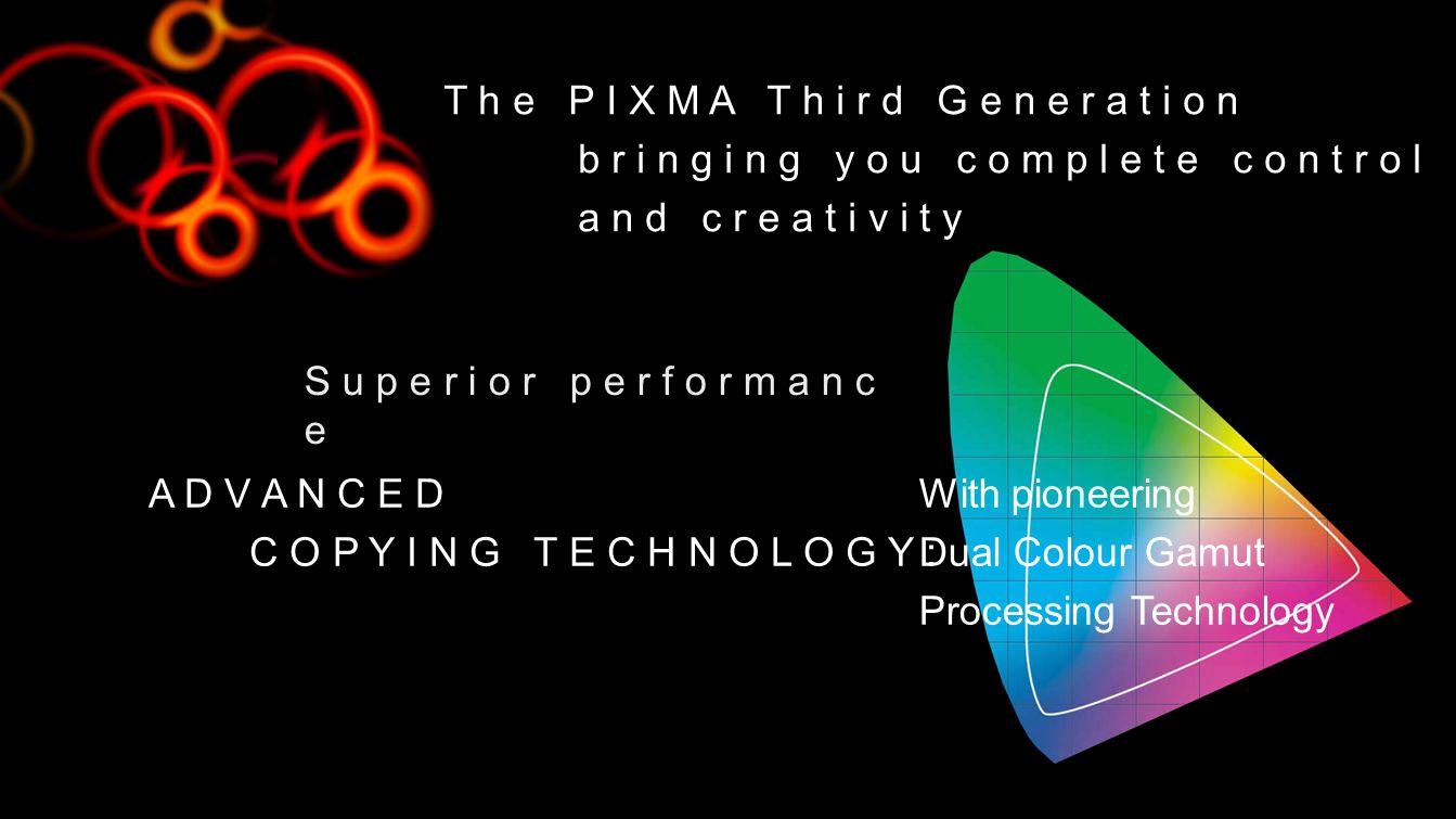 T h e P I X M A T h i r d G e n e r a t i o n b r i n g i n g y o u c o m p l e t e c o n t r o l a n d c r e a t i v i t y A D V A N C E D C O P Y I N G T E C H N O L O G Y : With pioneering Dual Colour Gamut Processing Technology S u p e r i o r p e r f o r m a n c e
