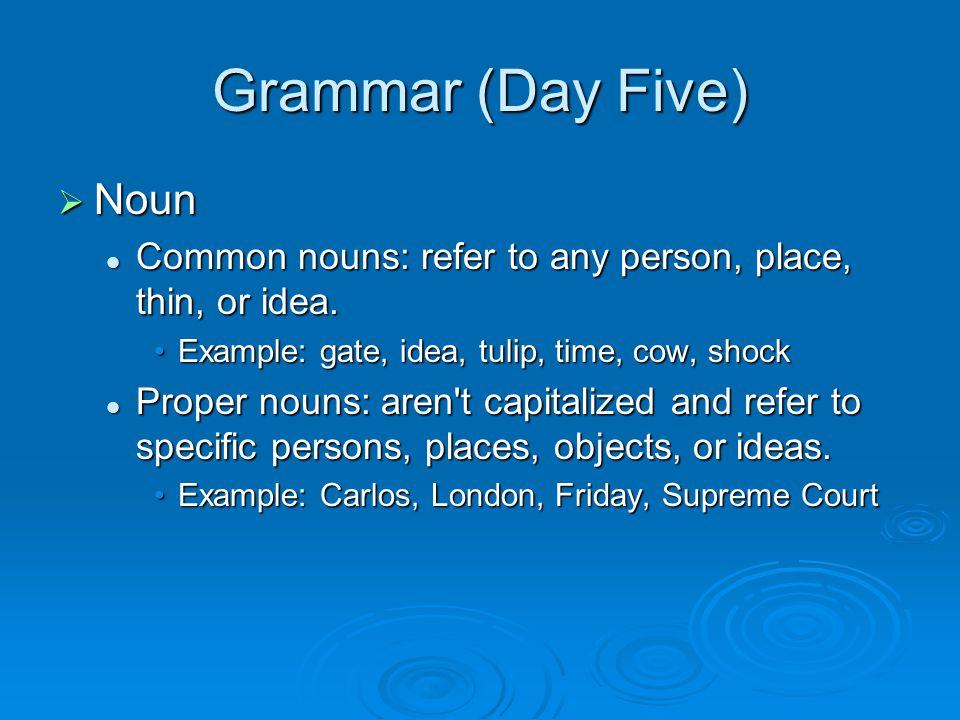 Grammar (Day Five)  Noun Common nouns: refer to any person, place, thin, or idea. Common nouns: refer to any person, place, thin, or idea. Example: g