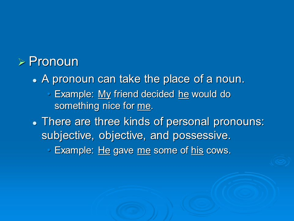  Pronoun A pronoun can take the place of a noun. A pronoun can take the place of a noun.