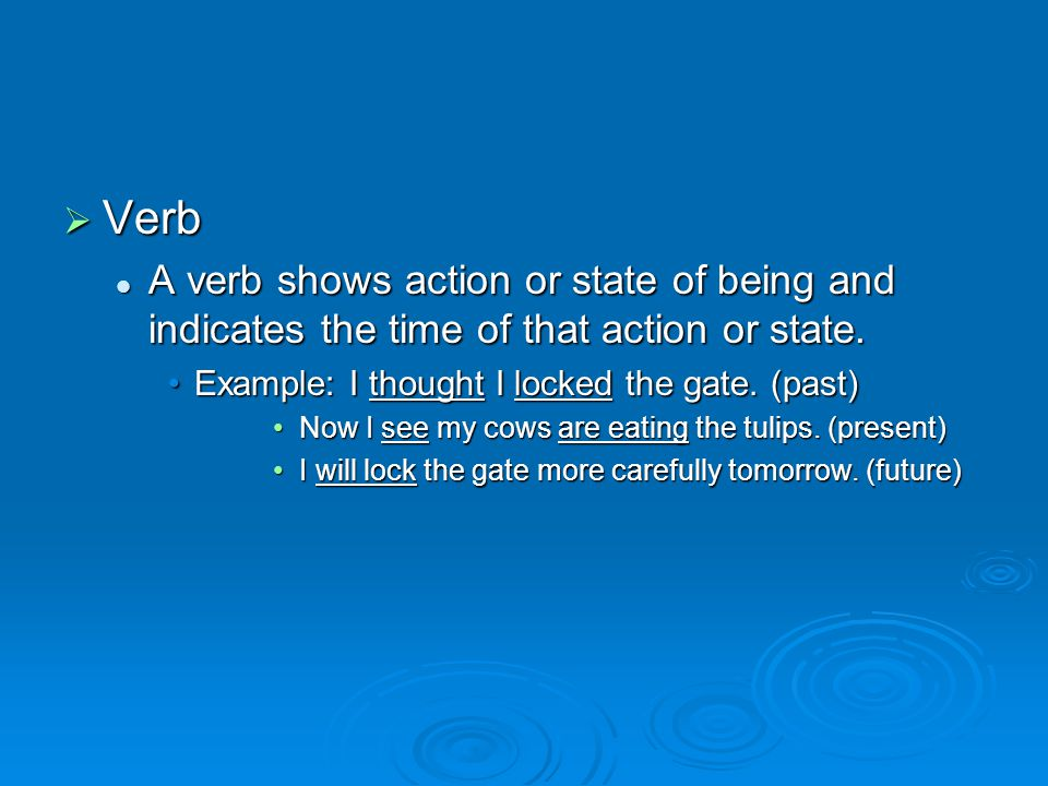  Verb A verb shows action or state of being and indicates the time of that action or state.