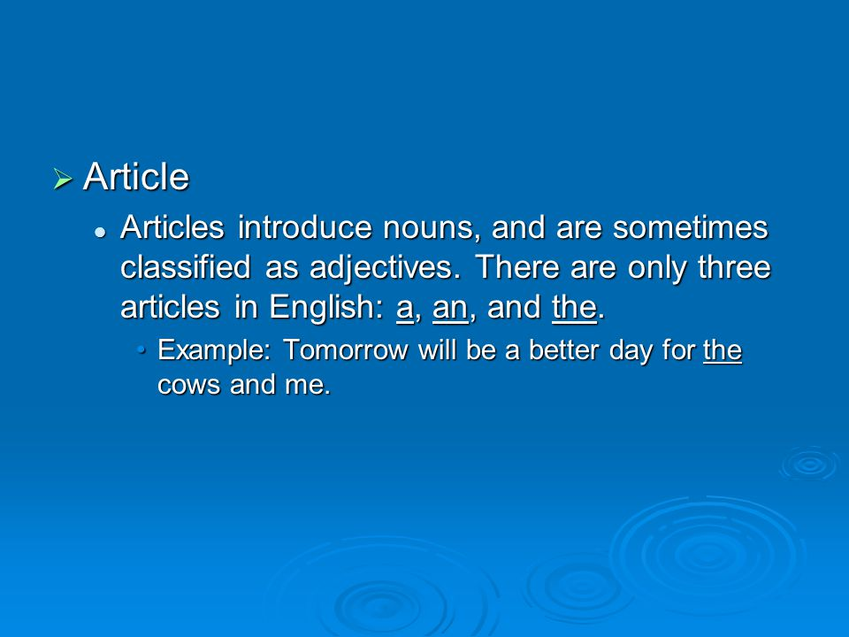  Article Articles introduce nouns, and are sometimes classified as adjectives.