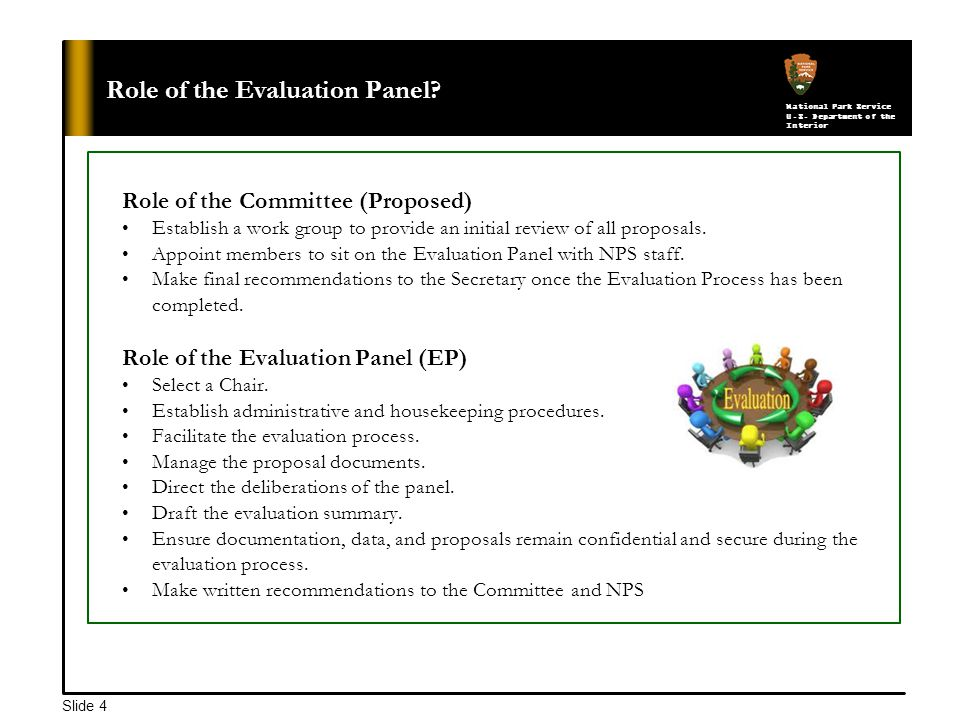 National Park Service U.S. Department of the Interior Slide 4 Role of the Evaluation Panel.
