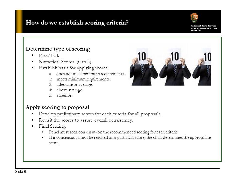National Park Service U.S. Department of the Interior Slide 6 How do we establish scoring criteria.