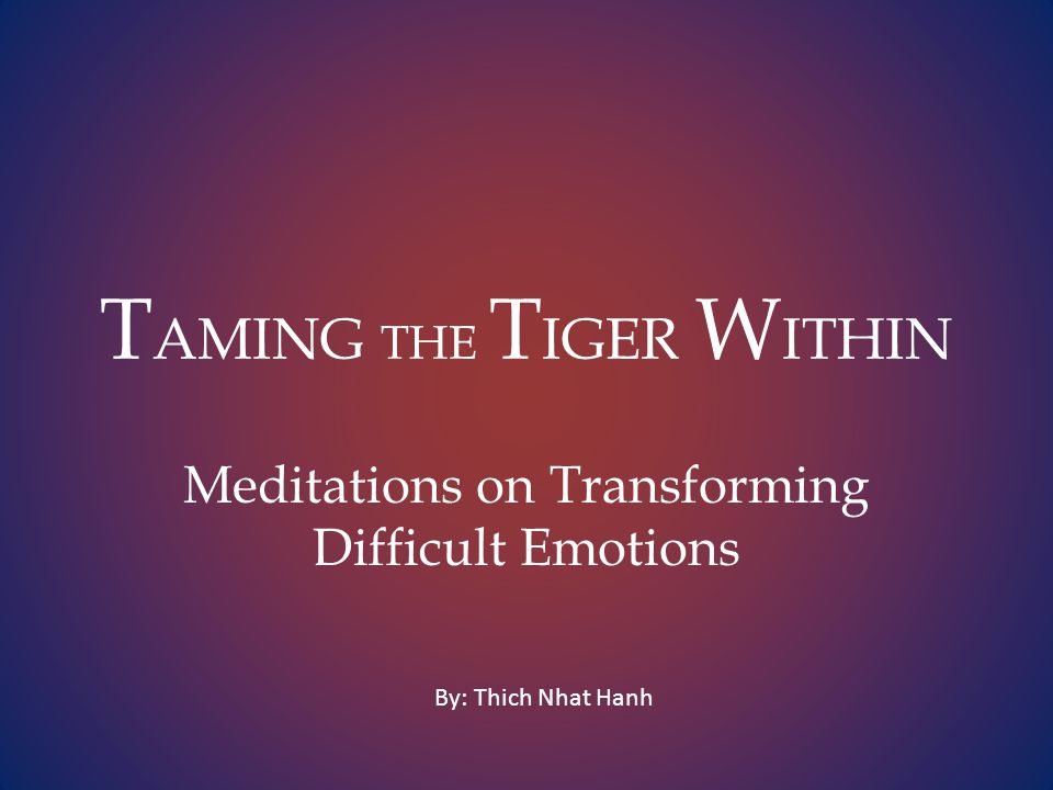 T AMING THE T IGER W ITHIN Meditations on Transforming Difficult Emotions By: Thich Nhat Hanh