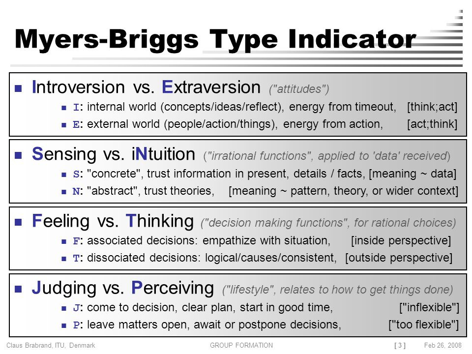 [ 3 ] Claus Brabrand, ITU, Denmark GROUP FORMATIONFeb 26, 2008 Myers-Briggs Type Indicator Introversion vs.