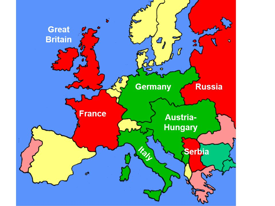 France Germany Austria- Hungary Italy Russia Great Britain Serbia