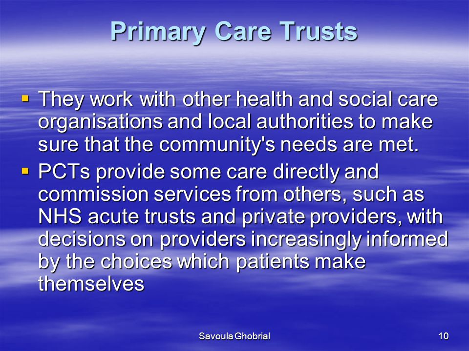 Savoula Ghobrial10 Primary Care Trusts  They work with other health and social care organisations and local authorities to make sure that the community s needs are met.
