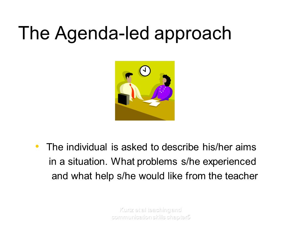 Kurtz et al teaching and communication skills chapter5 The Agenda-led approach The individual is asked to describe his/her aims in a situation. What p