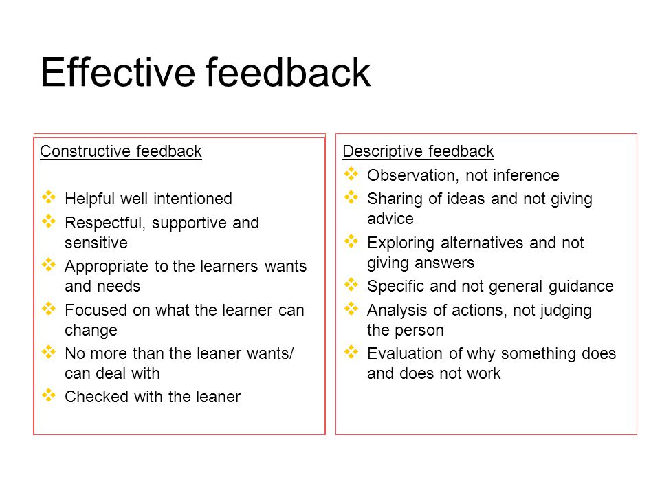 Effective feedback Constructive feedback   Helpful well intentioned   Respectful, supportive and sensitive   Appropriate to the learners wants and needs   Focused on what the learner can change   No more than the leaner wants/ can deal with   Checked with the leaner Descriptive feedback   Observation, not inference   Sharing of ideas and not giving advice   Exploring alternatives and not giving answers   Specific and not general guidance   Analysis of actions, not judging the person   Evaluation of why something does and does not work