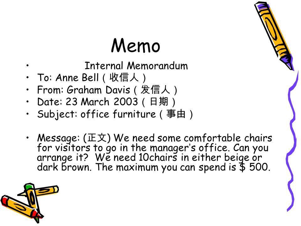 Memo Internal Memorandum To: Anne Bell (收信人) From: Graham Davis (发信人) Date: 23 March 2003 (日期) Subject: office furniture (事由) Message: ( 正文 ) We need