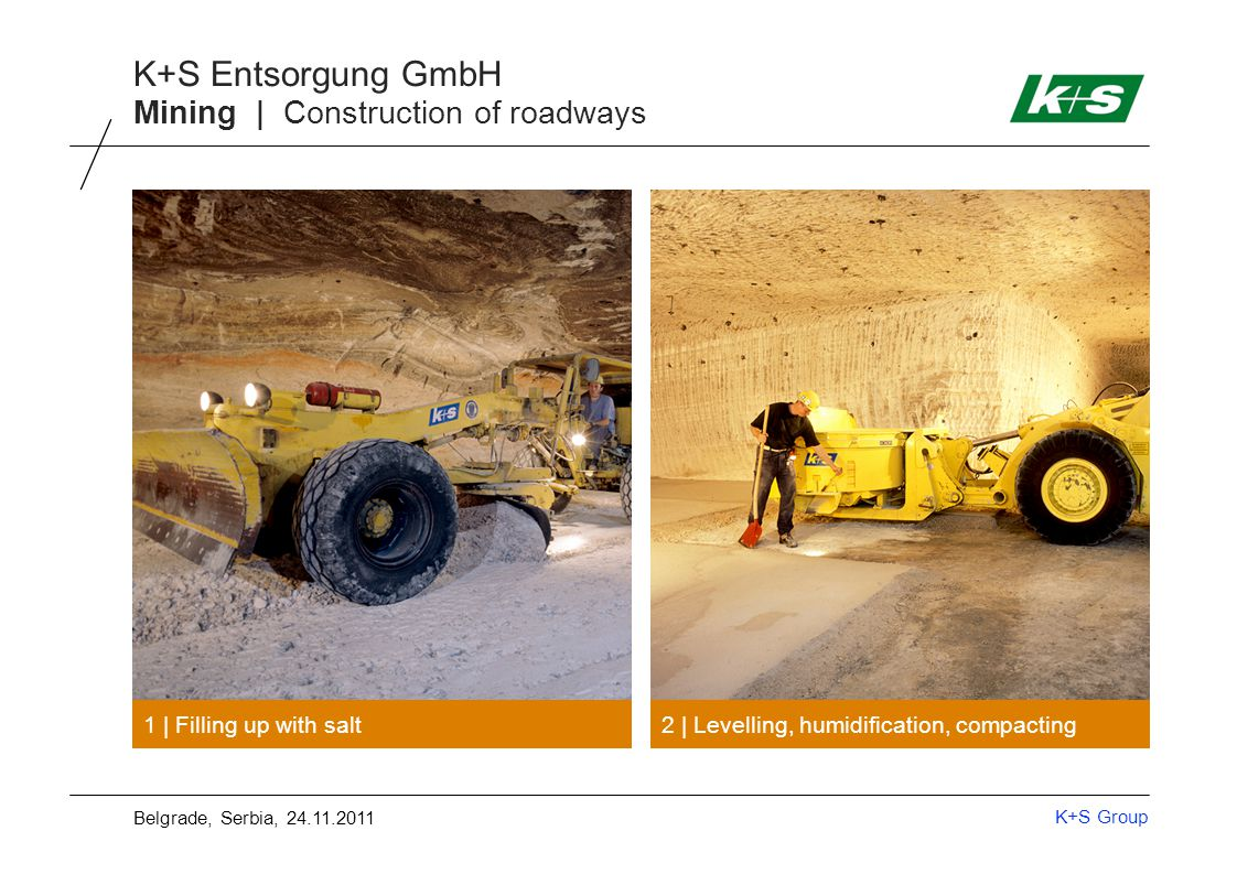 K+S Group K+S Entsorgung GmbH Mining | Construction of roadways 1 | Filling up with salt 2 | Levelling, humidification, compacting Belgrade, Serbia, 24.11.2011