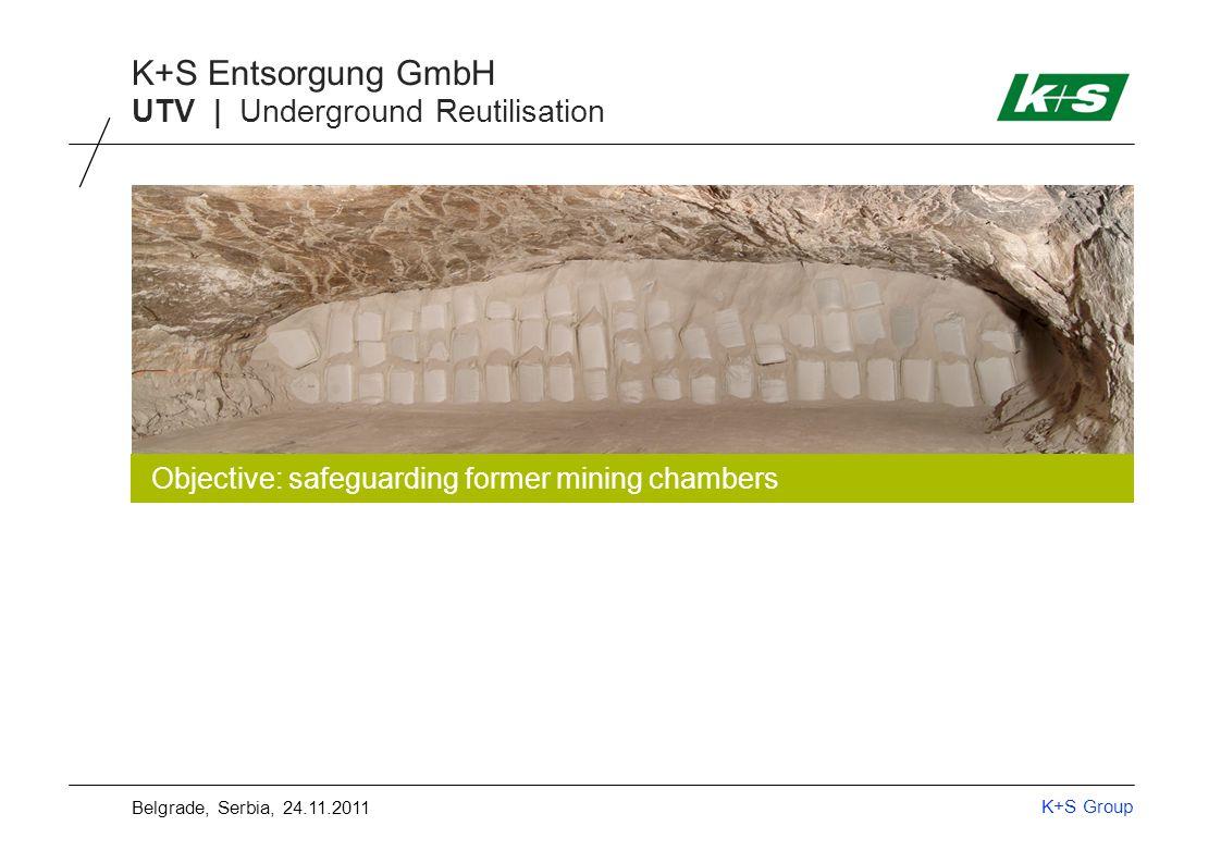 K+S Group K+S Entsorgung GmbH UTV | Underground Reutilisation Objective: safeguarding former mining chambers Belgrade, Serbia, 24.11.2011