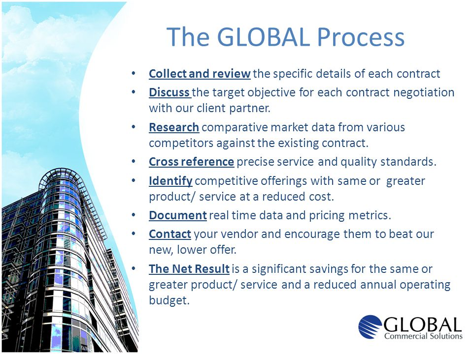 The GLOBAL Process Collect and review the specific details of each contract Discuss the target objective for each contract negotiation with our client