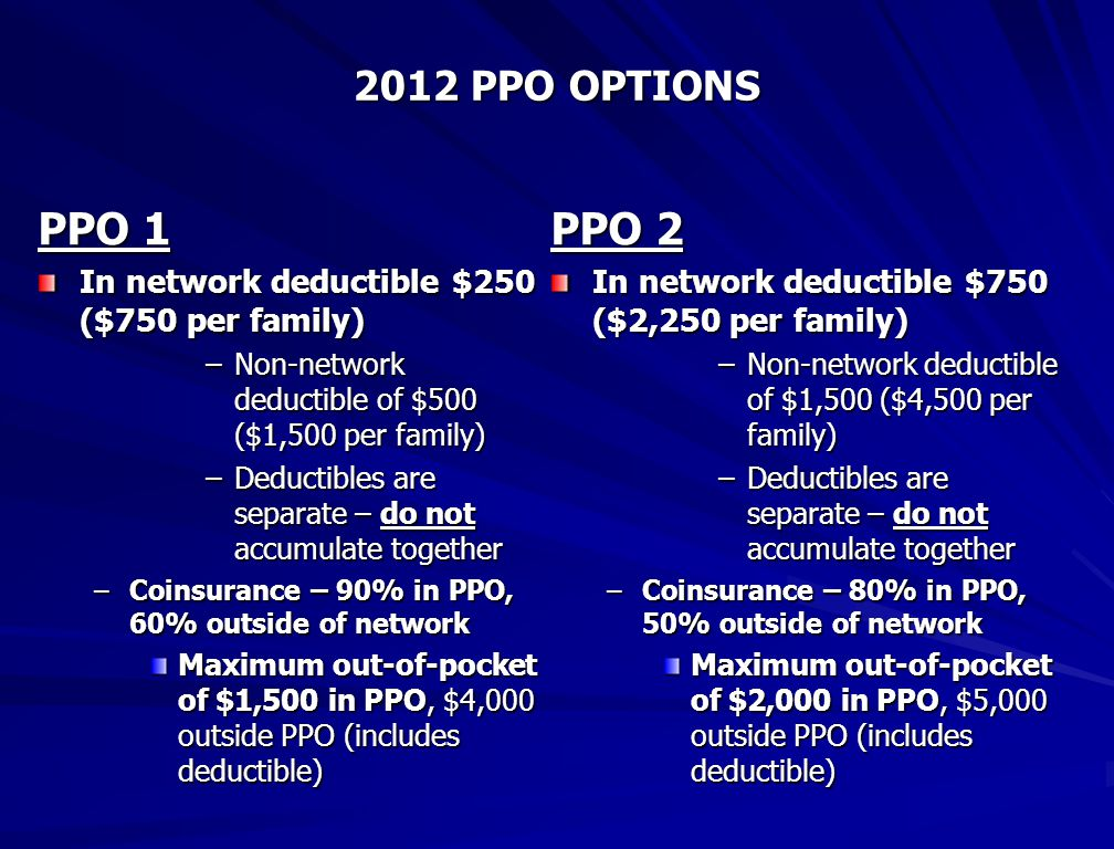 2012 PPO OPTIONS PPO 1 In network deductible $250 ($750 per family) –Non-network deductible of $500 ($1,500 per family) –Deductibles are separate – do not accumulate together –Coinsurance – 90% in PPO, 60% outside of network Maximum out-of-pocket of $1,500 in PPO, $4,000 outside PPO (includes deductible) PPO 2 In network deductible $750 ($2,250 per family) –Non-network deductible of $1,500 ($4,500 per family) –Deductibles are separate – do not accumulate together –Coinsurance – 80% in PPO, 50% outside of network Maximum out-of-pocket of $2,000 in PPO, $5,000 outside PPO (includes deductible)