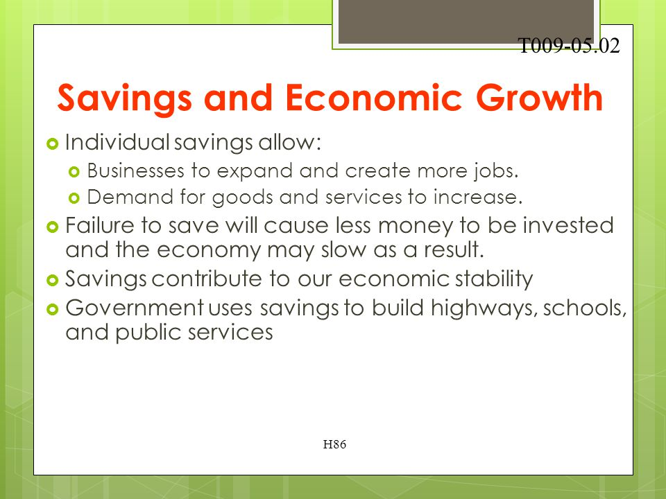 9.05 Analyze how saving and investing influences economic growth. H85 T009-05.01