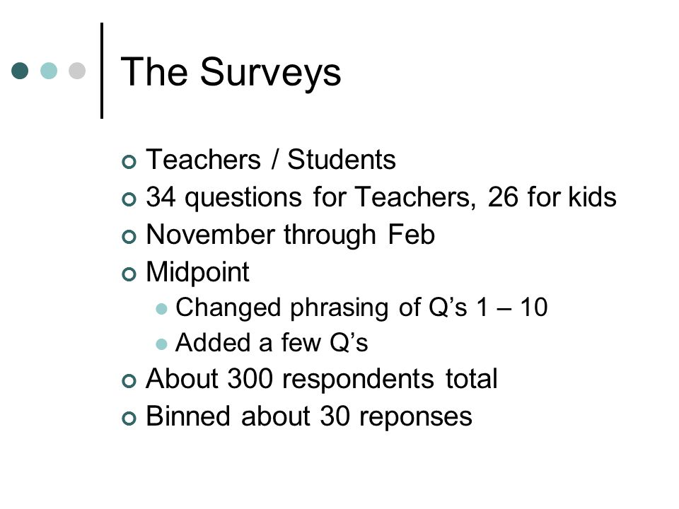 The Surveys Teachers / Students 34 questions for Teachers, 26 for kids November through Feb Midpoint Changed phrasing of Q's 1 – 10 Added a few Q's About 300 respondents total Binned about 30 reponses