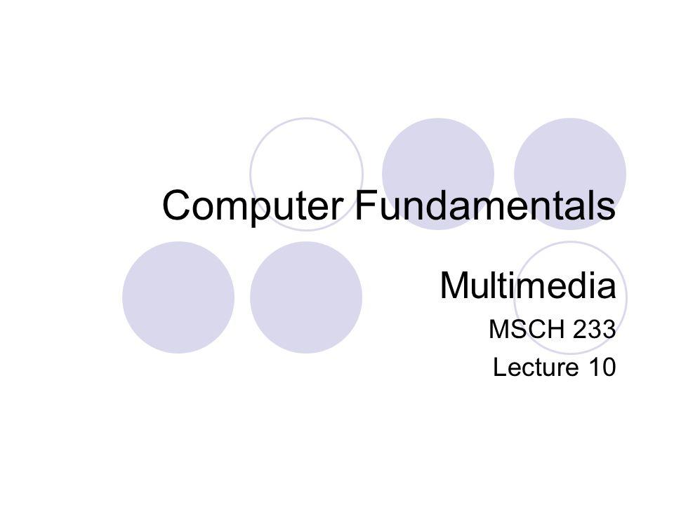 Computer Fundamentals Multimedia MSCH 233 Lecture 10