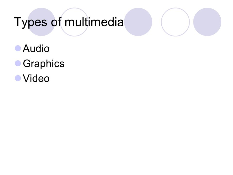 Types of multimedia Audio Graphics Video