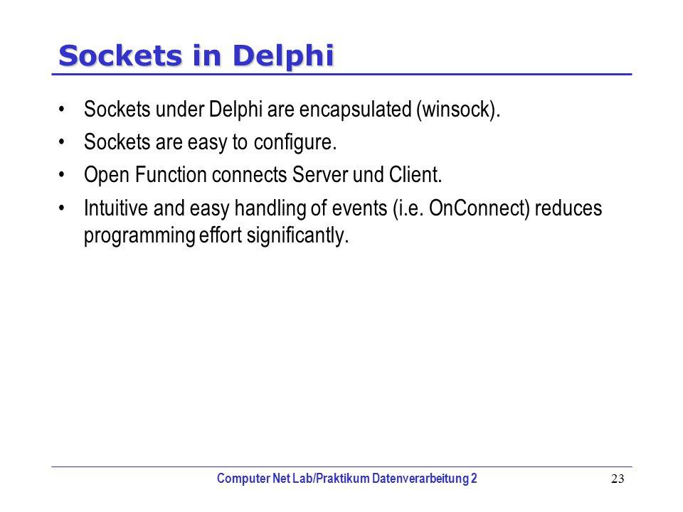 Computer Net Lab/Praktikum Datenverarbeitung 2 23 Sockets in Delphi Sockets under Delphi are encapsulated (winsock). Sockets are easy to configure. Op