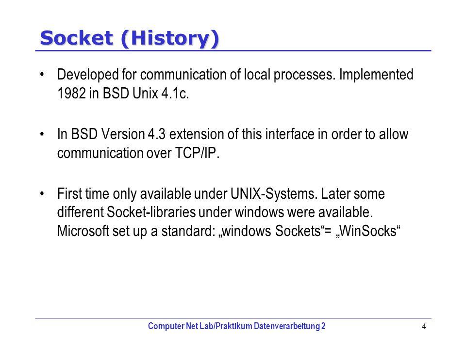 Computer Net Lab/Praktikum Datenverarbeitung 2 4 Socket (History) Developed for communication of local processes. Implemented 1982 in BSD Unix 4.1c. I