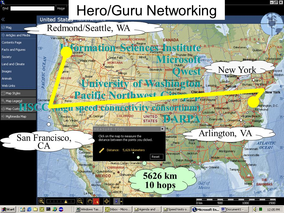 13 Redmond/Seattle, WA San Francisco, CA New York Arlington, VA 5626 km 10 hops Information Sciences Institute MicrosoftQwest University of Washington Pacific Northwest Gigapop HSCC (high speed connectivity consortium) DARPA Hero/Guru Networking