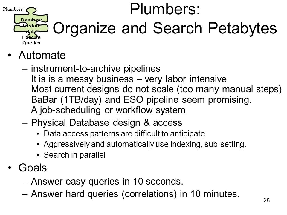 25 Plumbers: Organize and Search Petabytes Automate –instrument-to-archive pipelines It is is a messy business – very labor intensive Most current designs do not scale (too many manual steps) BaBar (1TB/day) and ESO pipeline seem promising.